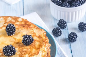 Crepes with blackberries