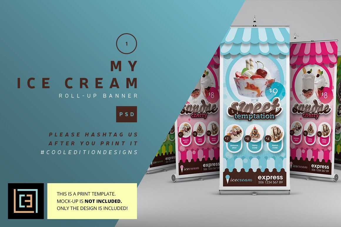 My Ice Cream Roll Up Banner Flyer Templates Creative
