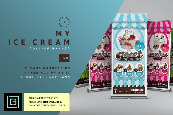 my ice cream roll up banner flyer templates creative market
