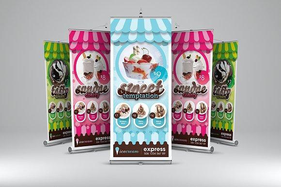 My Ice Cream Roll Up Banner Flyer Templates Creative Market