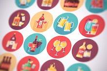 Alcohol drinks flat icons set