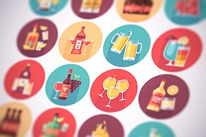 Alcohol drinks flat icons set