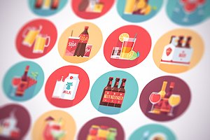 Soft drinks beverages flat icons set