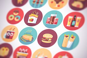 Fast food, snacks flat icons set