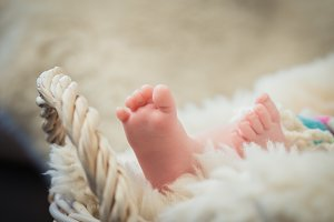 Photo of newborn baby feet