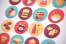 Fast food, snack flat icons set