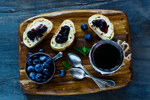 Blueberry jam sandwiches