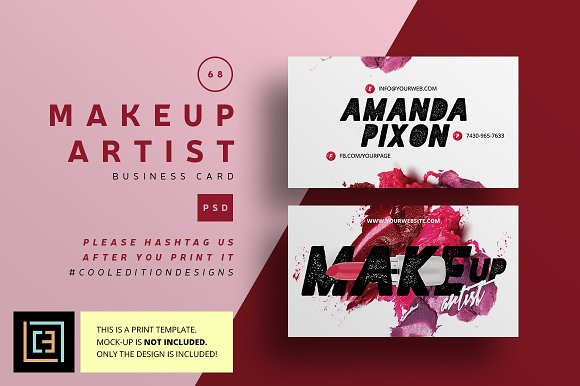 Makeup Artist Business Card 68 Business Card Templates