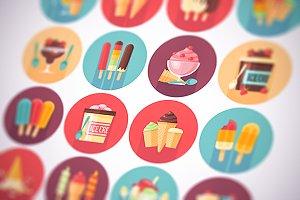 Ice cream flat circle icons set