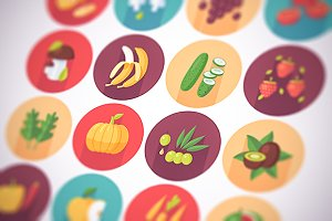 Fruits and vegetables flat icons set