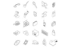 Spy icons set, isometric 3d style