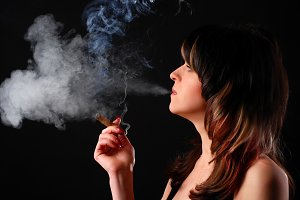 beautiful woman with cigar