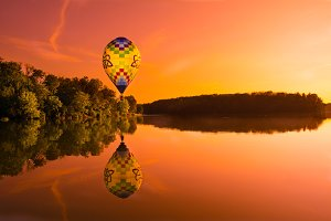 Hot Air Balloon Over Lake