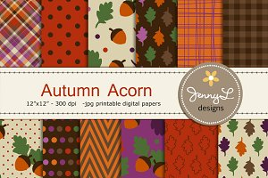 Fall Acorn Autumn Digital Papers