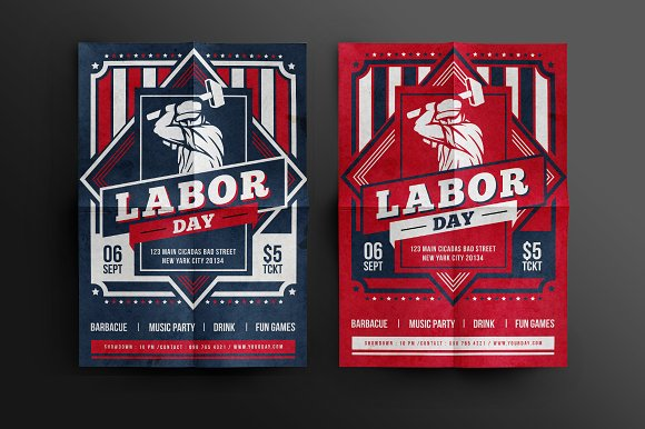 Labor Day Celebration Flyer Flyer Templates on Creative Market – Labour Day Flyer Template