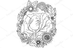Doodle baby rabbit in flowers