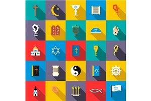 Religion icons set, flat style