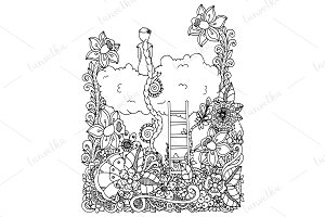 Doodle girl on cloud in flowers