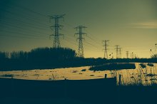 Power Lines Over a Snowy Field