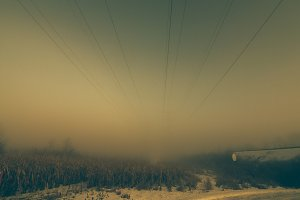 Foggy and Snowy Power Lines