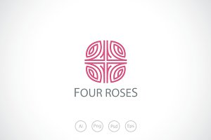 Four Rose Flowers Logo Template
