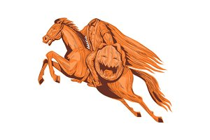 Headless Horseman Pumpkin Head