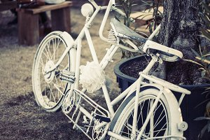 Old white bicycle