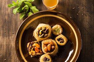 Syrian dessert with tea