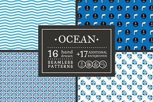 Ocean: 33 hand drawn patterns