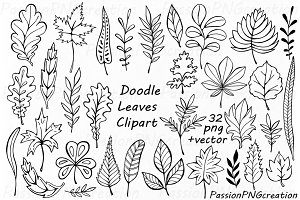 Doodle Leaves Clipart