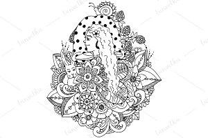 Doodle mushroom girl