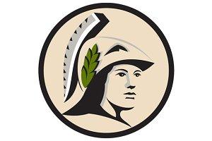 Minerva Head Looking Side Circle