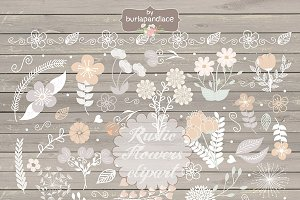 Vector/Rustic flowers clipart