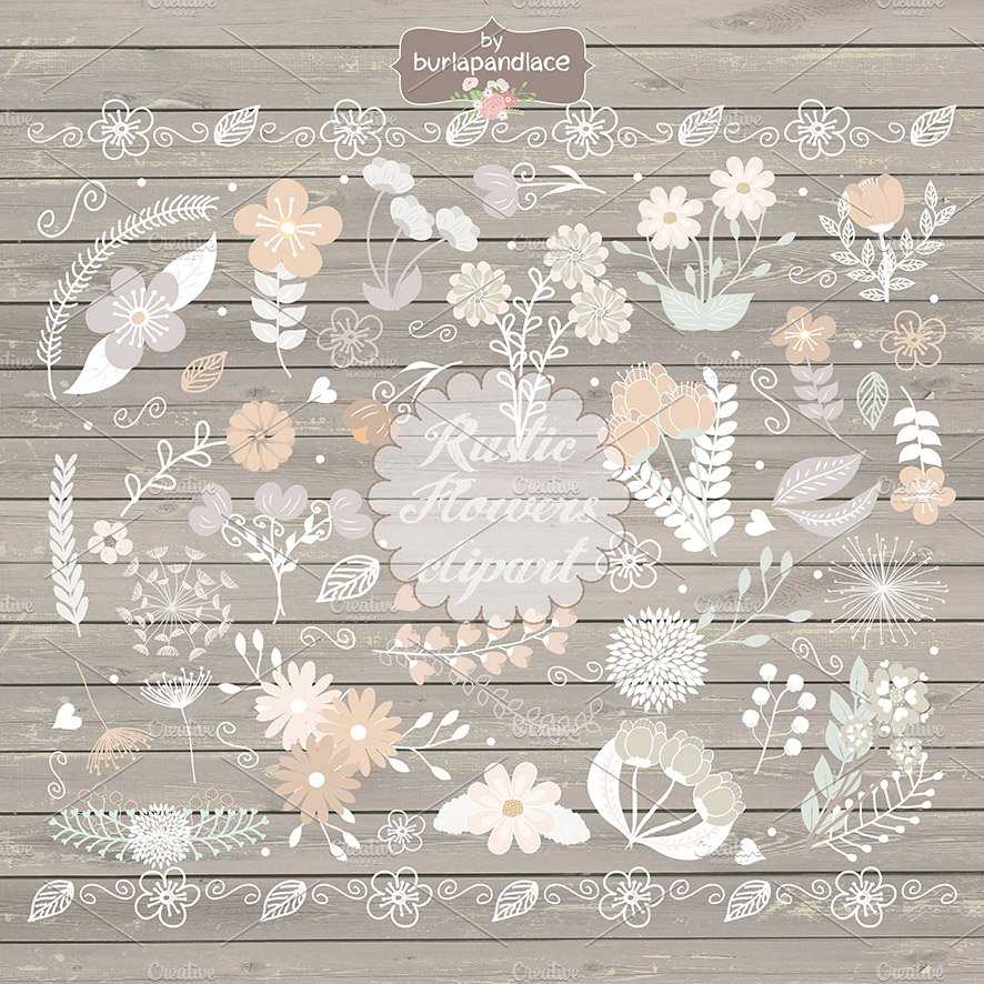 Vector Rustic Flowers Clipart Illustrations Creative Market