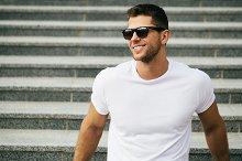 Smiling man (white T-shirt for logo)