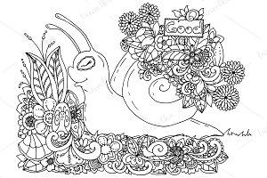Doodle snail in flowers