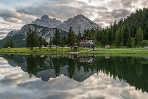 Mountain reflections in Dolomites