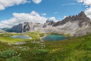 Lake in Dolomites mountains