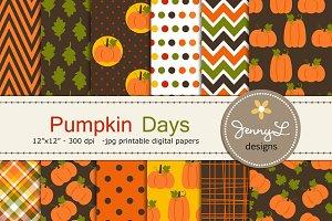 Autumn Fall Pumpkin Digital Papers