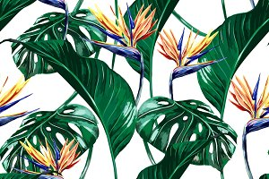 Tropical flowers,leaves pattern