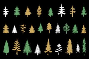 Hand drawn Christmas Tree elements