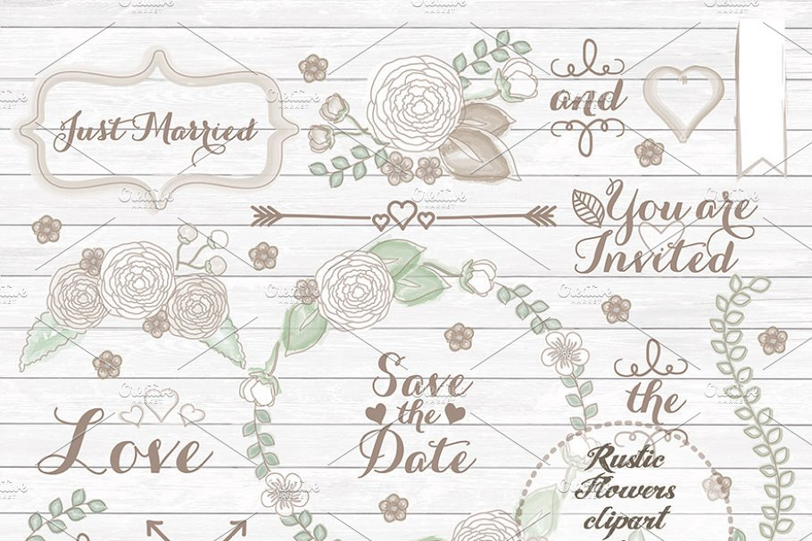 Wedding rustic. Clipart