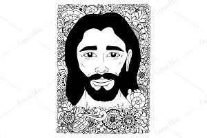 Doodle portrait of Jesus in flowers