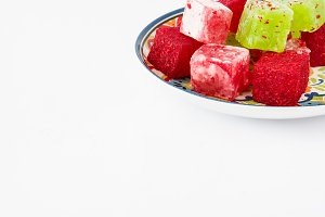 Sweet pieces of turkish delight