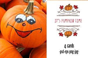 4 autumn pumpkin cards