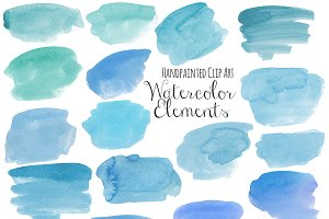 Blue watercolor elements clip art