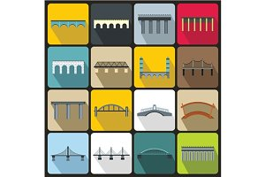 Bridge set icons, flat style