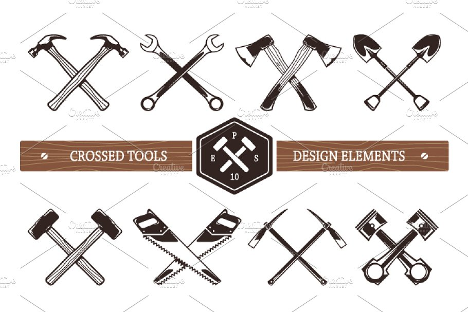 Crossed Work Tools | Vector Icons