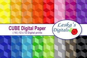 Cube Digital Paper - Geometric