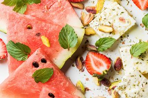 Salad with watermelon & strawberry